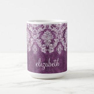 Motif vintage et nom de damassé de prune mug