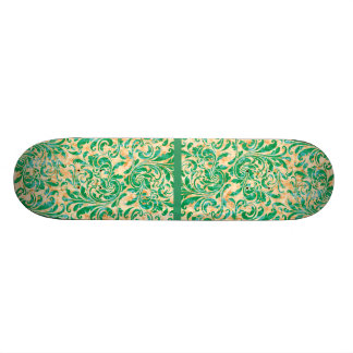 Motif vintage floral vert de damassé skateboard