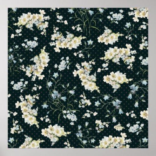 Motif vintage fonc de papier peint de fleur posters zazzle - Papier peint fleuri vintage ...