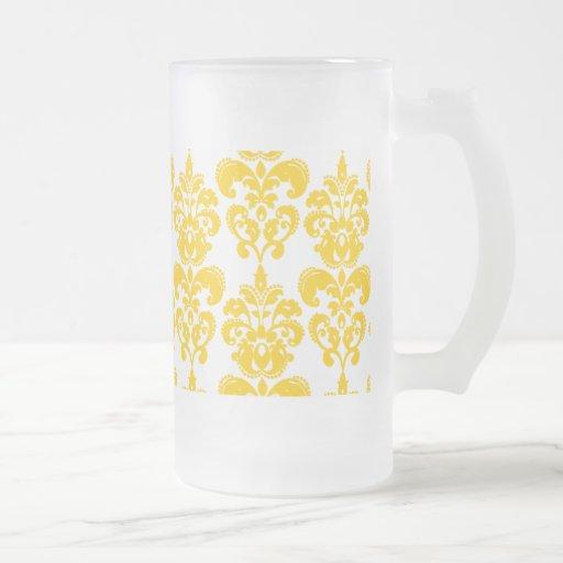 Motif vintage jaune et blanc 2 de damassé mug