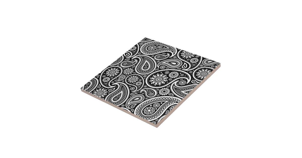 motif vintage noir et blanc de damass de paisley petit carreau carr zazzle. Black Bedroom Furniture Sets. Home Design Ideas
