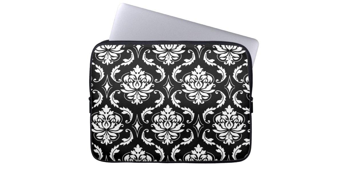 motif vintage noir et blanc de damass trousses pour ordinateur portable zazzle. Black Bedroom Furniture Sets. Home Design Ideas