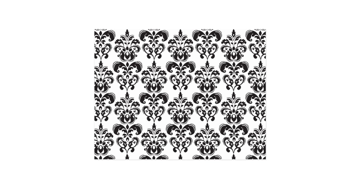 motif vintage noir et blanc girly 2 de damass cartes postales zazzle. Black Bedroom Furniture Sets. Home Design Ideas