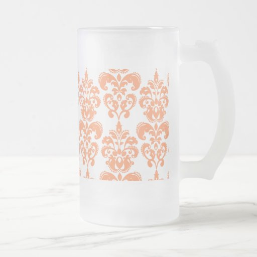 Motif vintage orange et blanc 2 de damassé tasse à café