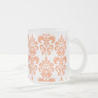 Motif vintage orange et blanc 2 de damassé mugs