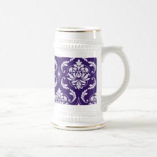 Motif vintage pourpre et blanc foncé de damassé tasse