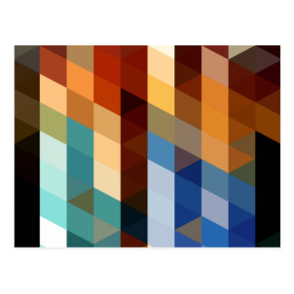 Motifs géométriques triangles bleues et oranges de cartes postales