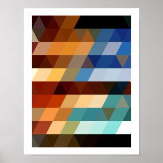 Motifs géométriques triangles bleues et oranges de poster