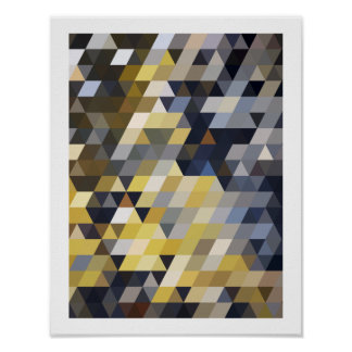 Motifs géométriques triangles jaunes et bleues de affiche