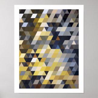Motifs géométriques triangles jaunes et bleues de posters