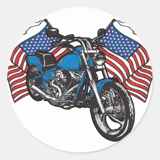 Moto américaine de motard sticker rond