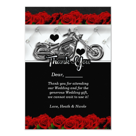 Top Moto de motard et carte de remerciements de roses | Zazzle.fr RW56