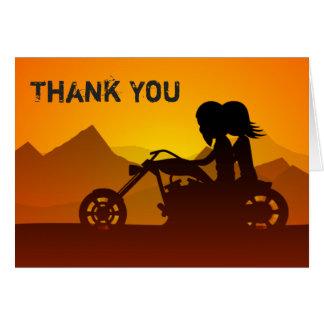 Moto d'équitation de couples avec le Merci de Cartes De Vœux