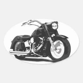 Moto noire de Harley Sticker Ovale