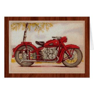 Moto rouge vintage cartes de vœux