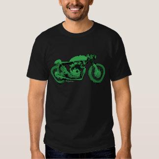 Moto verte de cru de coureur de café t-shirts