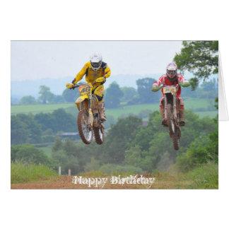 Motocross de carte d'anniversaire de Moto X