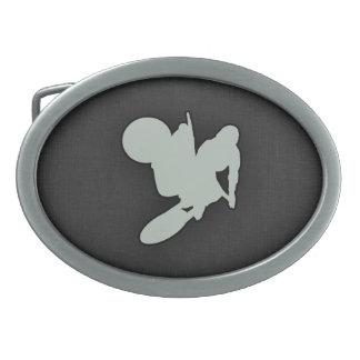 Motocross de gris de cendre boucle de ceinture ovale