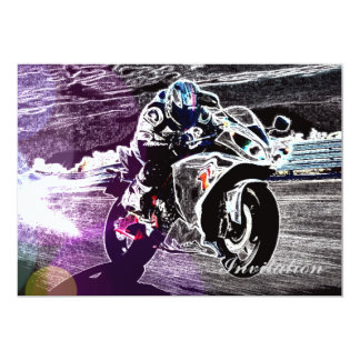 motocross faisant du vélo de saleté emballant le carton d'invitation  12,7 cm x 17,78 cm
