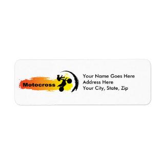 Motocross unique étiquette d'adresse retour