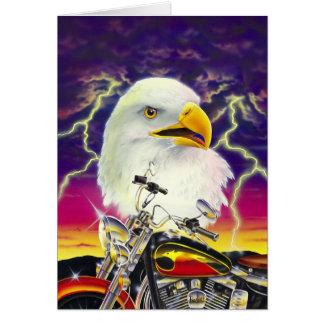 Motocyclette avec l'aigle américain cartes