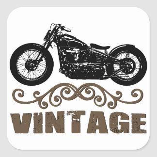Motocyclette vintage stickers carrés