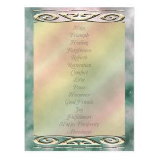 Mots changeants de la vie de couleur de sélection carte postale