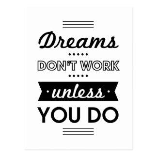 Mots de motivation au sujet des rêves et du travai cartes postales