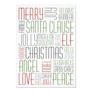 Mots de Noël - Holidayzfordayz Carton D'invitation 12,7 Cm X 17,78 Cm