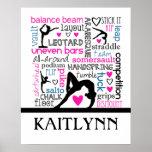 Mots de terminologie de gymnastique avec le poster