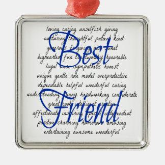 Mots pour le meilleur ami masculin ornement carré argenté