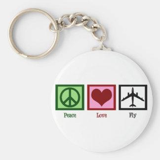 Mouche d'amour de paix porte-clé rond