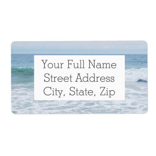 Mouette à la plage en Californie Étiquette D'expédition