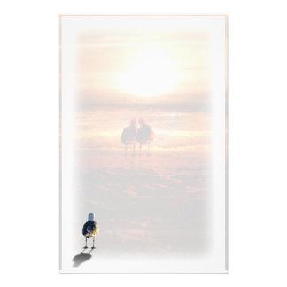 Mouette seule sur la plage motifs pour papier à lettre