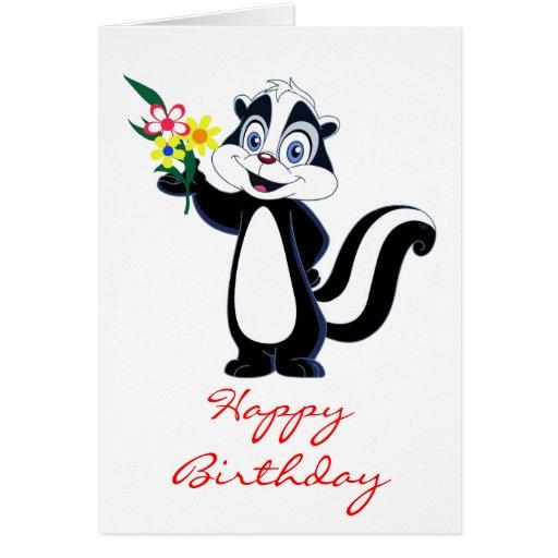 Mouffette amicale avec l'anniversaire de fleurs cartes de vœux