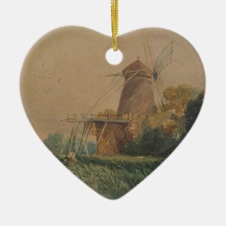Moulin à vent, abbaye de St Benet, par John Cotman Ornement Cœur En Céramique
