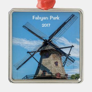 Moulin à vent de Néerlandais de parc de Fabyan Ornement Carré Argenté