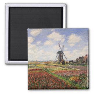 Moulin à vent de Rijnsburg de champs de tulipe de Magnet Carré