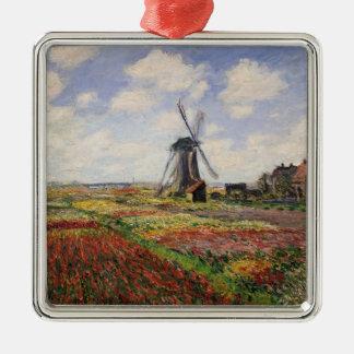 Moulin à vent de Rijnsburg de champs de tulipe de Ornement Carré Argenté