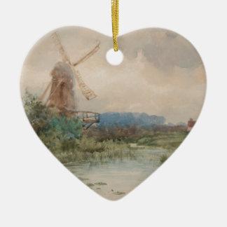 Moulin à vent, Hollande par Frederic Marlett Ornement Cœur En Céramique