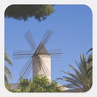 Moulin à vent, Palma, Majorque, Espagne Sticker Carré