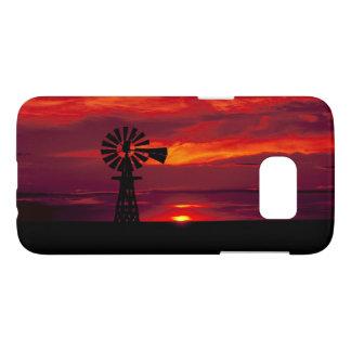 Moulin à vent Sillhoetted contre un coucher du Coque Samsung Galaxy S7