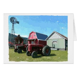 Moulin à vent, tracteurs antiques et bâtiments carte de vœux
