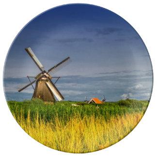 Moulins à vent dans Kinderdijk, Hollande, Pays-Bas Assiettes En Porcelaine