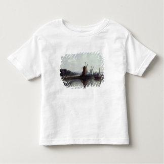 Moulins à vent par une rivière, 19ème siècle t-shirt pour les tous petits