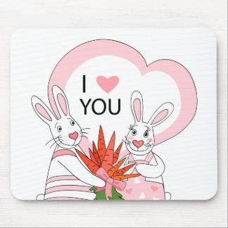 Mousepad avec les couples drôles de lapin tapis de souris