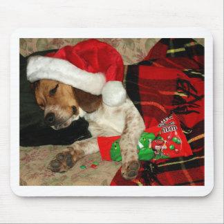 Mousepad de attente de chien de beagle de Noël de Tapis De Souris
