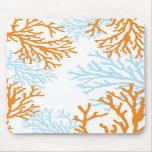 Mousepad de corail orange et bleu tapis de souris