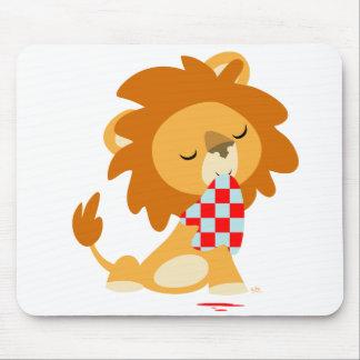 Mousepad de lion assouvi par bande dessinée tapis de souris