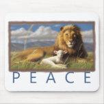 Mousepad de lion et d'agneau de paix tapis de souris